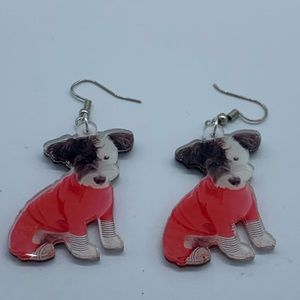 New red Christmas sweater Black&White dog earrings